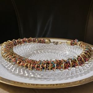 Jewelry - $AVE-Unique Beaded Necklace with gold wrapping